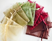 100 Organza Bags, 3x4 inch, multi color variety, Moss Green, Toffee, Ivory, Burgundy, Brown
