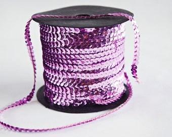 80 yard full spool, Lavender Pink Single Strand Sequin Trim
