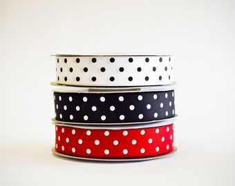 Polka Dot Grosgrain Ribbon, 3 colors, 5/8ths, 25 yds. of each on the spool, 75 yds total