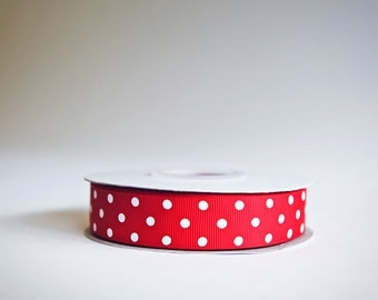 Polka Dot Grosgrain Ribbon, 25 yds. on the spool, Red, choose from 3 widths, 3/8ths, 5/8ths, or 7/8ths