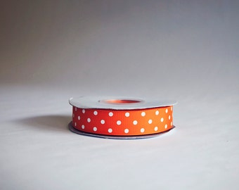 Polka Dot Grosgrain Ribbon, 25 yds. on the spool, Orange, choose from 3 widths, 3/8ths, 5/8ths, or 7/8ths