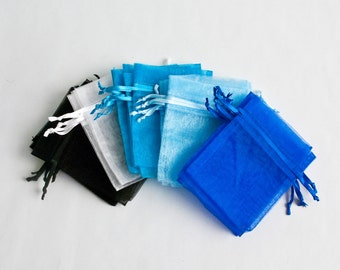 100 Organza Bags, 4x6 inch, multi color, black, white, aqua, light blue, royal blue
