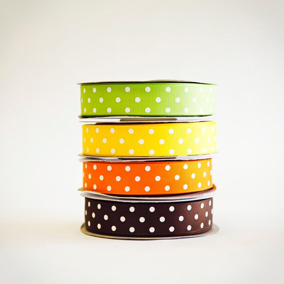 Polka Dot Grosgrain Ribbon, 4 colors, 4 full spools, 25 yards each, Fun Fall Mix, Choose the width, 3/8ths, 5/8ths, or 7/8ths