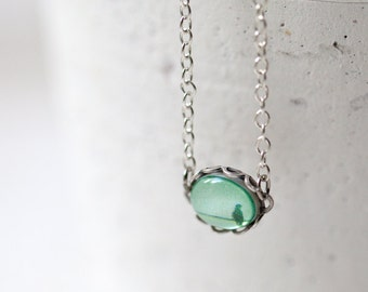 Mint charm necklace - Tiny bird necklace - Mint necklace - Spring jewelry - Mint jewelry (N087)