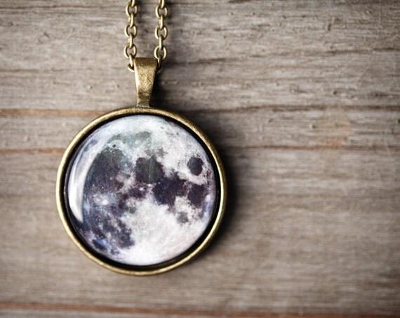 Collier de pleine lune - lune - espace bijoux - système solaire bijoux (N094)