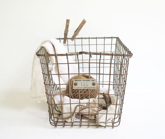 vintage metal wire locker basket - industrial storage