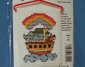 NOAH'S ARK Cross-Stitch Kit with Hanger - Ark with Animals & Rainbow - Brand New - Great Gift Idea