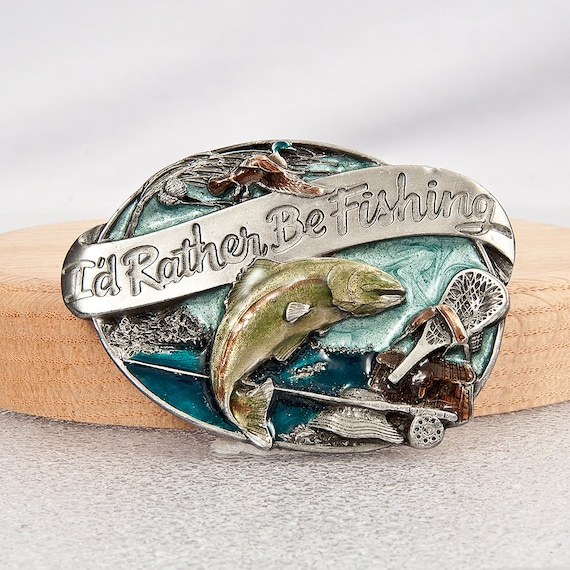 1985 I'd Rather Be Fishing by Siskiyou Buckle Co Williams Oregon Enamled Belt Buckle