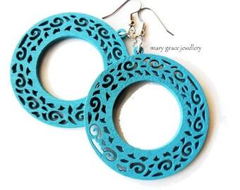 Large Blue Wooden Earrings, Round Hoops, Aqua, Surgical Steel, Lazer Cut