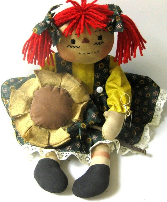 Primitive Raggedy Ann Doll Sunflowers with Handmade Sunflower Ornie Hafair Ploa