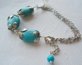 Turquoise Bracelet Silver and Blue Bracelet Wire Wrapped Bracelet Stone Jewelry Bridesmaid Bracelet