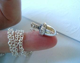 Silver Acorn Necklace Tiny Silver Acorn Pendant Acorn Jewelry Fallen Acorn