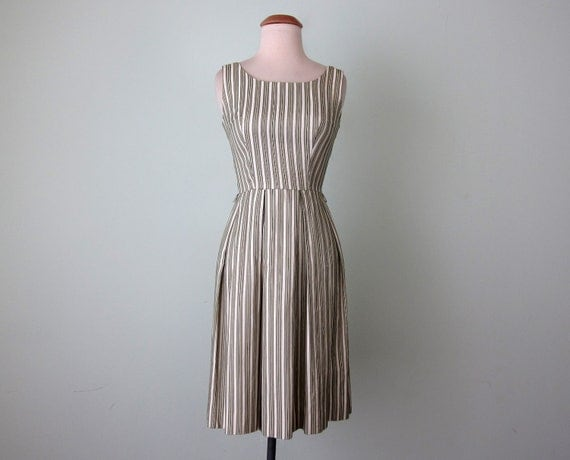 60s dress / sage green striped fit flare scoop back cotton (xs - s)