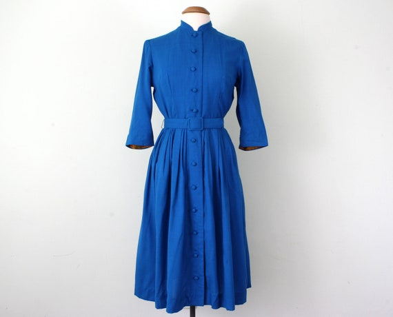 50s dress / turquoise wool pleated belted winter (m - l)