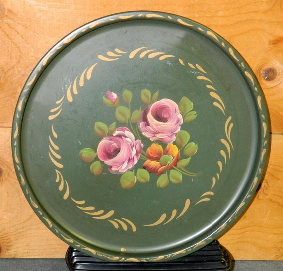 Vintage Tray Tole Painted Metal Decorative Serving Pink Roses