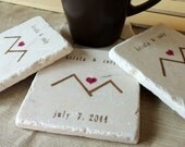 Personalized Mountain Love Tile Coasters - Wedding Day Gift for the Couple - Set of 4