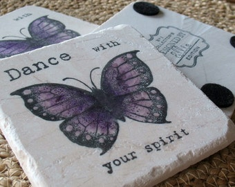 Butterfly Coasters - Dance with your Spirit - Set of 4 Tiles