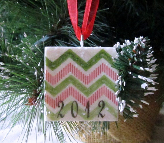Keepsake Christmas Ornament - Holiday Gift - Year Ornament - Red and Green Chevron - Ready to Ship