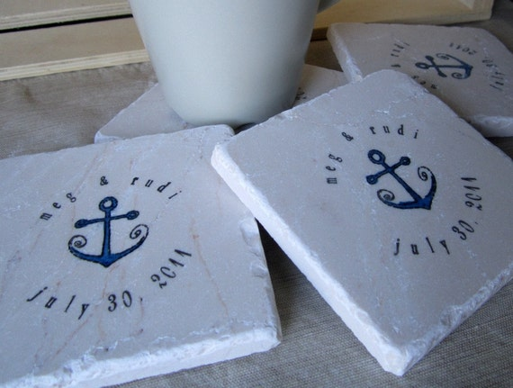 Personalized Nautical Coasters - Anchor Coasters - Wedding Gift - Set of 4