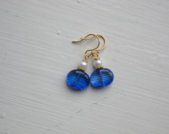 Blue Striped Glass and Freshwater Pearl Earrings on 14k Gold