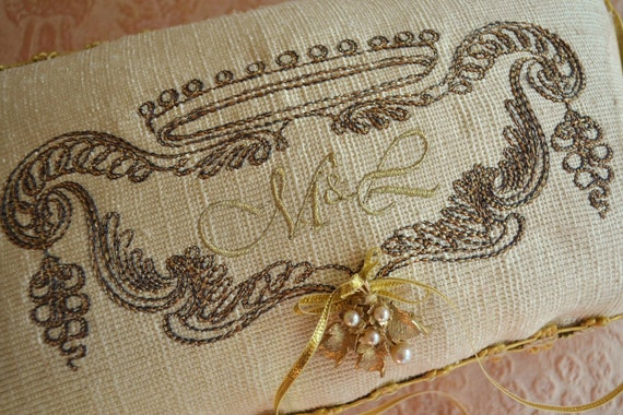 Ring Bearer Pillow - MIDAS TOUCH COLLECTION - Rings Bearer Exquisite Pillow Custom Embroidered with Monogram - Silk - Antique Trim