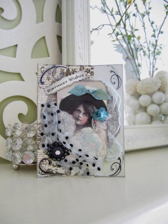 Vintage Inspired Birthday Card - Black White Card - Victorian Birthday