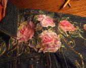 Original Hand Painted Designer Vintage Denim Jacket Folk Art Roses and Scenes.