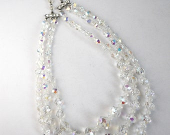 AUSTRIAN CRYSTAL Demi-PARURE- Necklace and Earrings set, 1950s