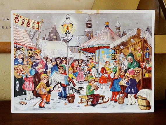 vintage advent calendar, made in Western Germany by Kruger, retro graphics with glitter