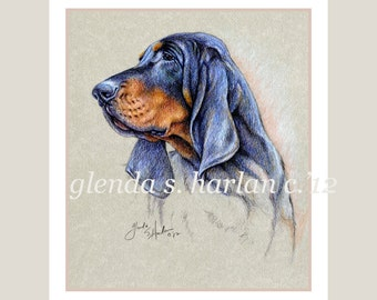 Black and Tan Coon Hound Dog Fine Art Note Cards - PACK of EIGHT