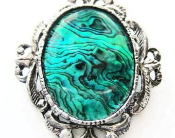 Paua shell brooch.  Statement brooch.  Blue green paua shell jewelry.  Vintage romantic silver pin.