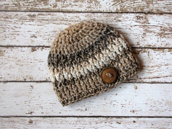 Crochet Baby Boy Beanie, 3 to 6 Months, Brown Striped Hat