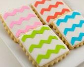 Chevron Stripe Squares - Sugar Cookies (12 cookies per order)