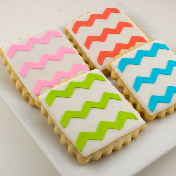Chevron Stripe or Mustache Cookies - 12 Decorated Squares