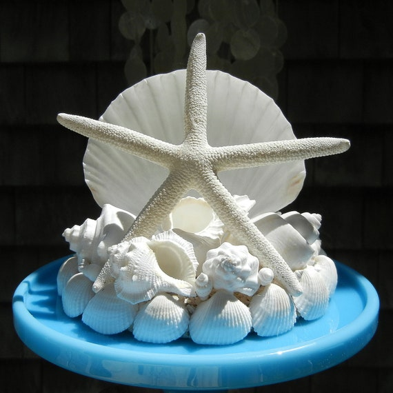 seashell starfish wedding cake topper island by shellscapes. Black Bedroom Furniture Sets. Home Design Ideas