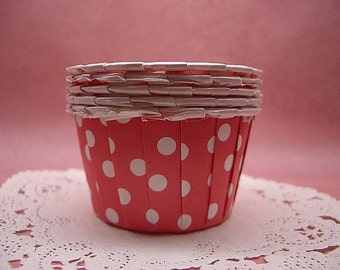 Cute Polka Dots on Red 1 1/2-inch base small cupcake cups (set of 25)