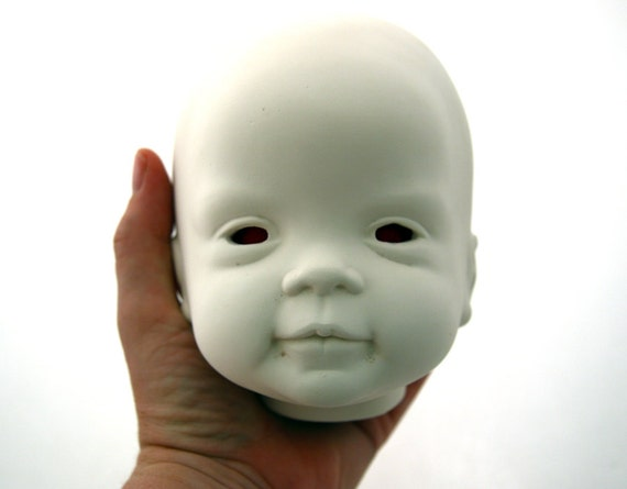 Spooky Halloween Goth haunted Dead Disembodied baby doll Head OOAK Decoration