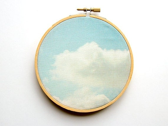 Clouds Photograph Fabric Art - 5 inch hoop - Blue Sky - Abstract Dreamy Photograph - Original Textile - Wall Hanging Embroidery Hoop
