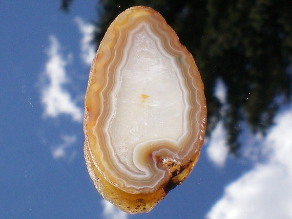 Tan and Crystal White Agate