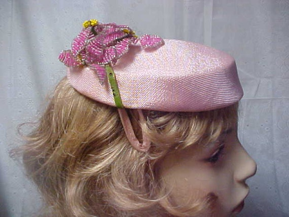 Reserved for Pearlette:  Pretty pink fascinator hat with beaded flower adornment