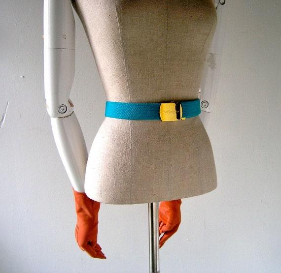 YSL gold buckle belt turquoise teal cotton - 1980s designer chic - New Old Stock vintage Yves Saint Laurent