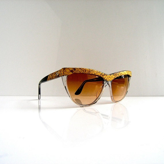 80s designer sunglasses snakeskin detail - hand made France - Prince Michel de Bourbon 1980s fashion