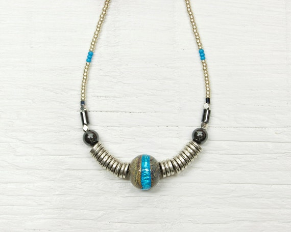 Tribal Inspired Necklace // Turquoise and Silver Lampwork Glass // Vintage Hematite