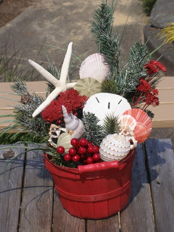Beach decor christmas bucket arrangement