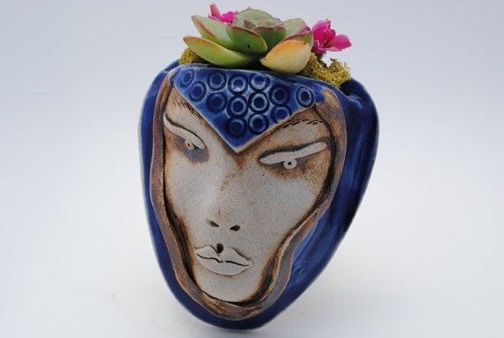 ceramic face planter garden art mask wall planter home decor