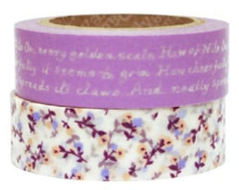 Decollections Masking Tape - Purple Floral & Text - Set 2 - Dear