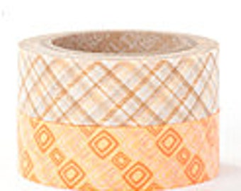 Decollections Masking Tape - Orange Tartan & Squares - Set 2 - Aileen