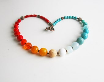 Colorful Beaded Necklace Red Blue White Necklace Statement Necklace
