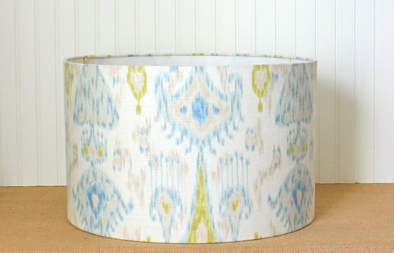 blue and green ikat drum lampshade. Black Bedroom Furniture Sets. Home Design Ideas