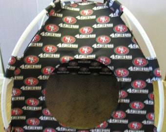 Large Handmade San Francisco 49ers Pup Tent Pet Bed For Cats / Dogs / Ferrets / Piggies Or Used For A Toy Box / Barbie Doll House
